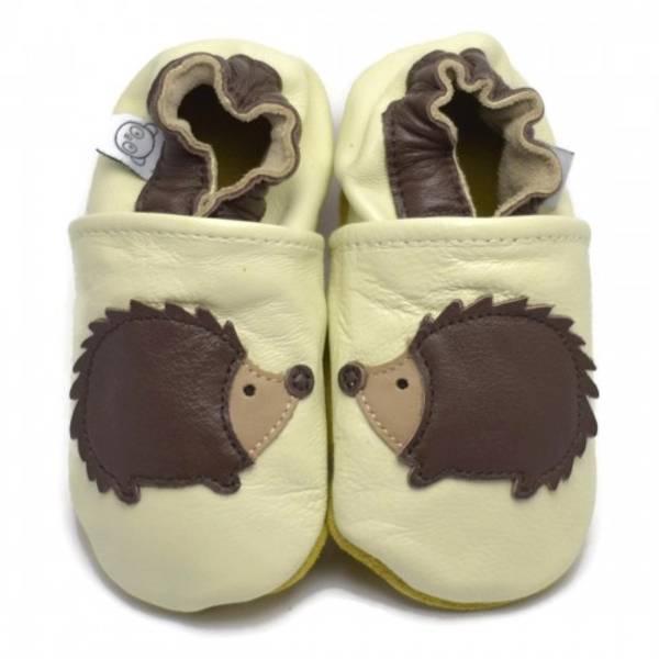 Bilde av Beige skinntøfler med pinnsvin fra Panda Feet