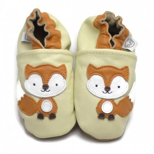 Bilde av Beige skinntøfler med rev fra Panda Feet