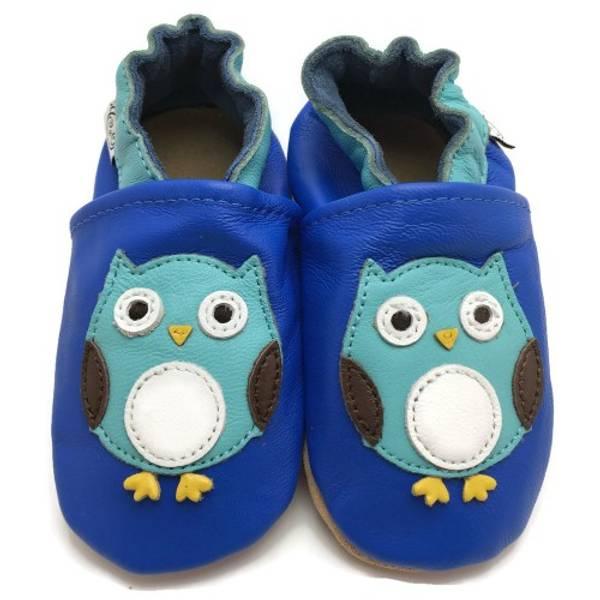 Bilde av Blå skinntøfler med ugle fra Panda Feet