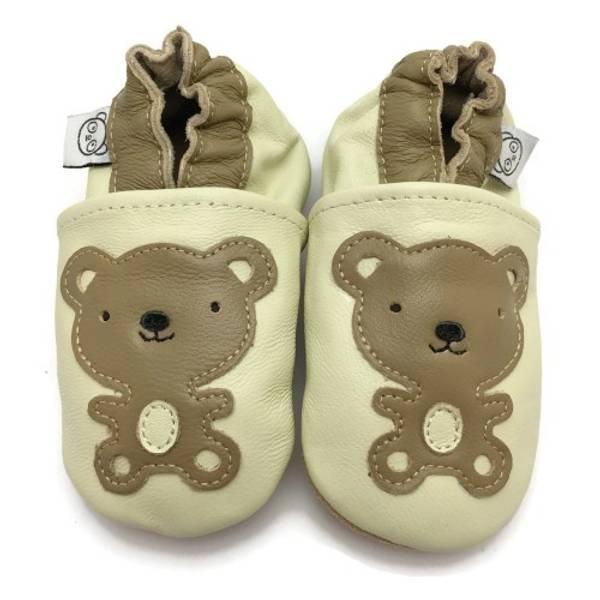 Bilde av Beige skinntøfler med teddybjørn fra Panda Feet