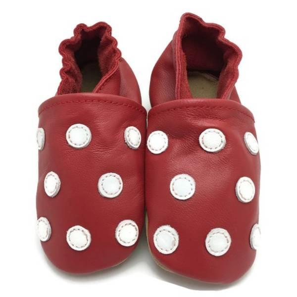 Bilde av Røde skinntøfler med prikker fra Panda Feet
