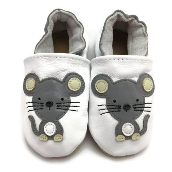Bilde av Hvite skinntøfler med mus fra Panda Feet