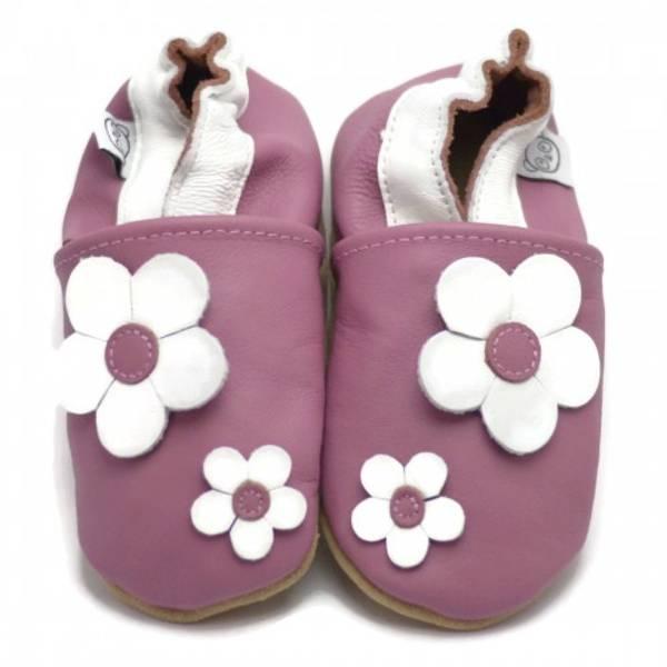 Bilde av Rosa skinntøfler med blomster fra Panda Feet
