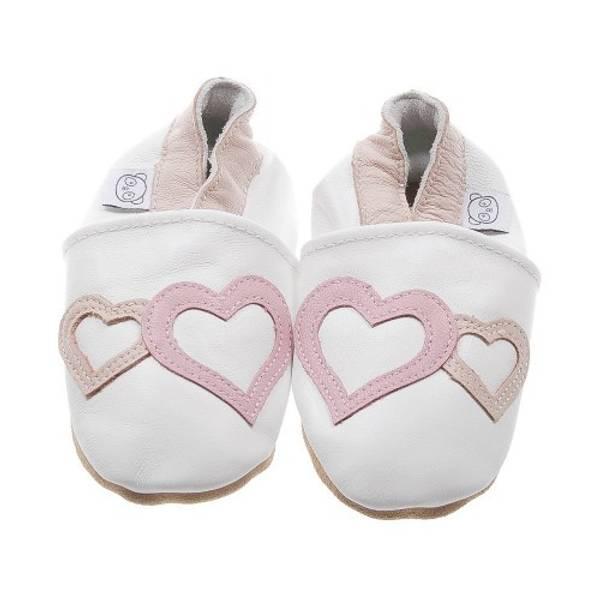 Bilde av Hvite skinntøfler med hjerter fra Panda Feet