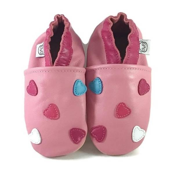 Bilde av Rosa skinntøfler med hjerter fra Panda Feet
