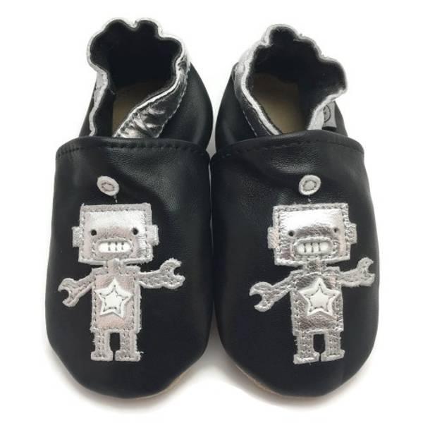 Bilde av Svarte skinntøfler med robot fra Panda Feet