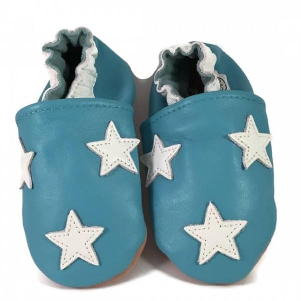 Bilde av Blå skinntøfler med stjerner fra Panda Feet