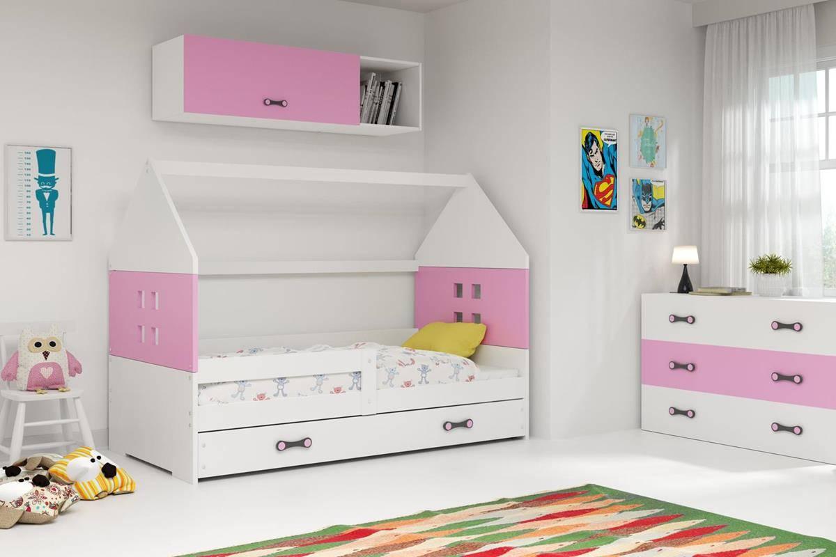 Husseng DOMI hvit/rosa barneseng