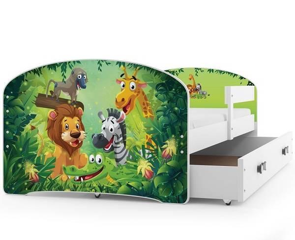Bilde av Enkeltseng LUKI hvit/jungle barneseng med skuff