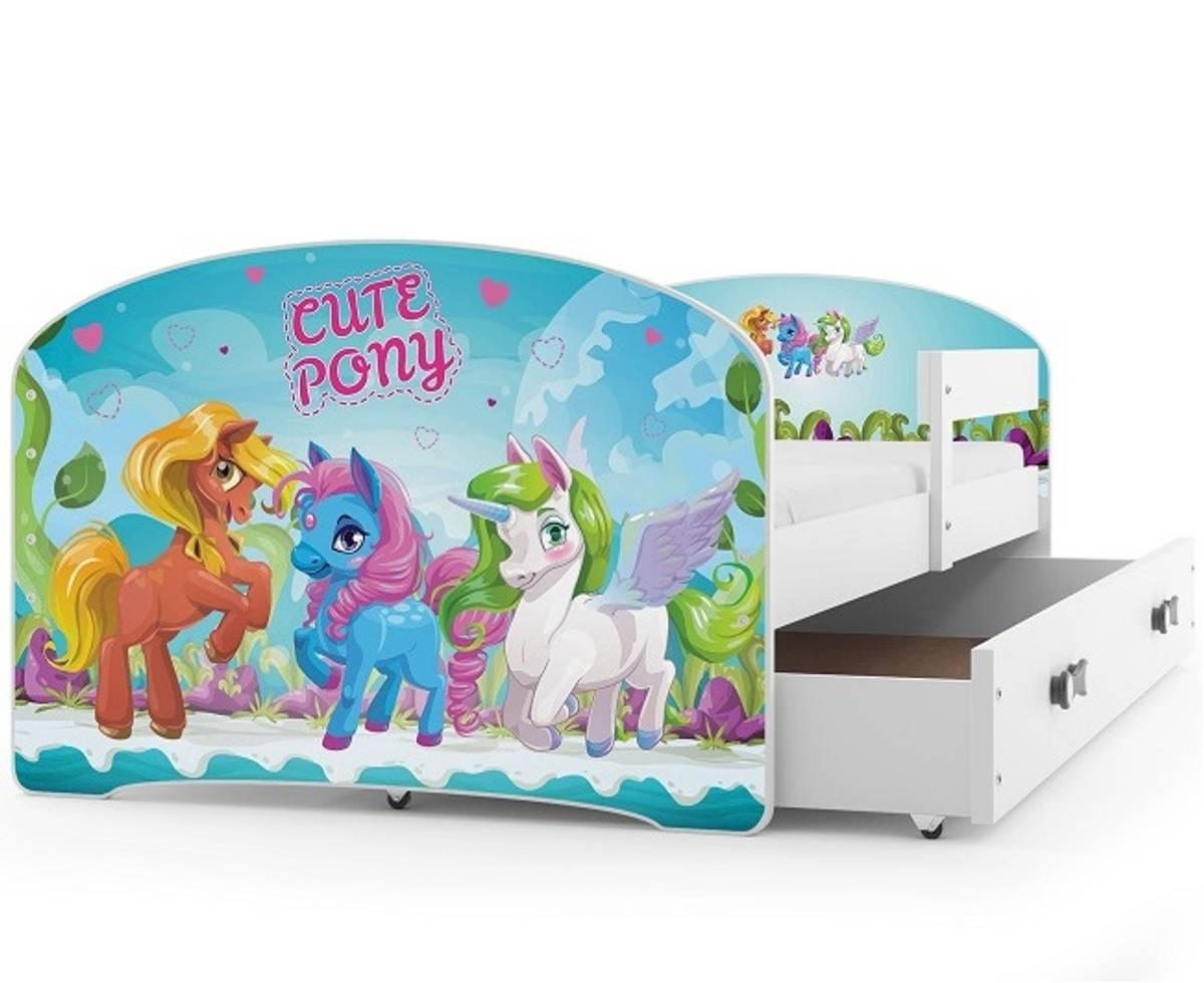 Enkeltseng LUKI hvit/pony barneseng med skuff