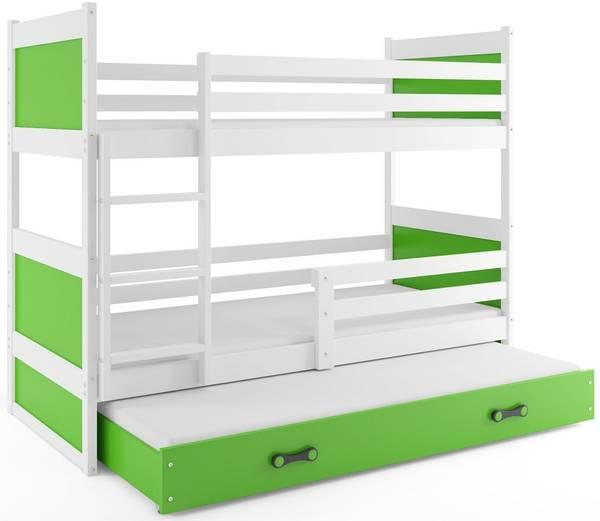 Bilde av Køyeseng for 3 RICO hvit/grønn barneseng