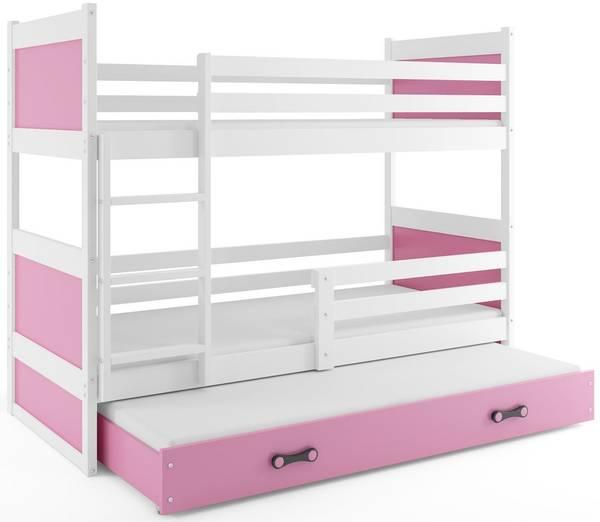 Bilde av Køyeseng for 3 RICO hvit/rosa barneseng