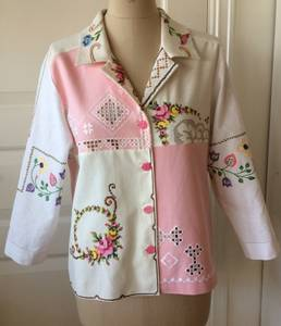 Skjortejakke hvit/natur/rosa