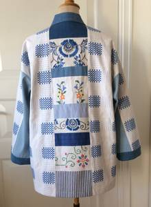 Kimono blå/hvit