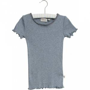 Bilde av Wheat Rib Tshirt Lace SS, flintstone melange