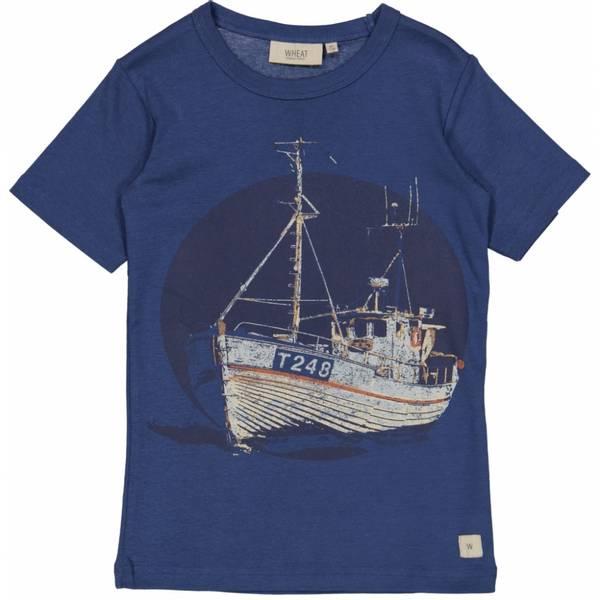 Wheat T-Skjorte, Fishing Boat, Cool Blue