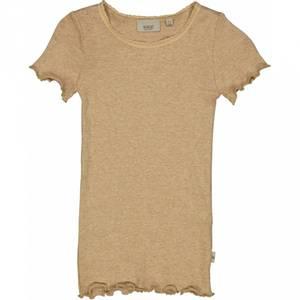 Bilde av Wheat Rib Tshirt Lace SS, Sand Melange
