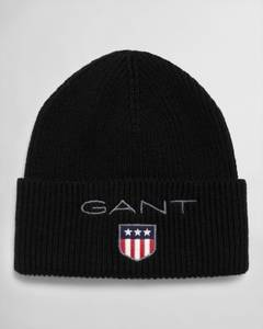 Bilde av Gant Rib Beanie Shield, Black, Sort lue