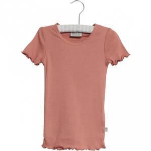 Bilde av Wheat Rib Tshirt Lace SS, Soft Peach Rose