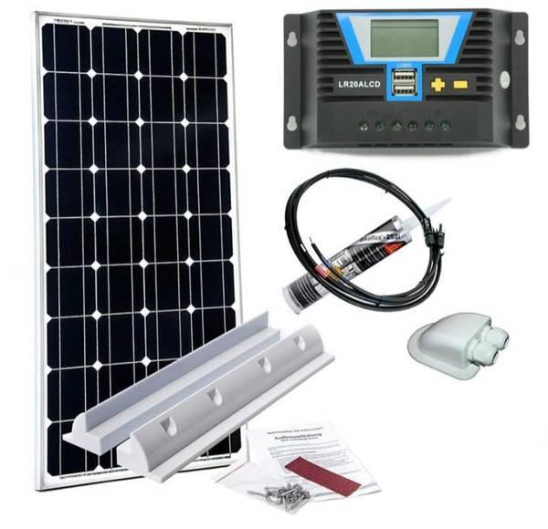 Bilde av WATTSTUNDE Solcellepakke 100W til bobil (komplett) - SLIM
