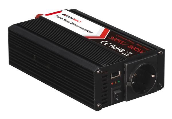 Bilde av SKANBATT Inverter 12V 300W (600W) Ren Sinus