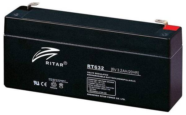 Bilde av RITAR AGM Batteri 6V 3,2AH (134x35x61mm) F1