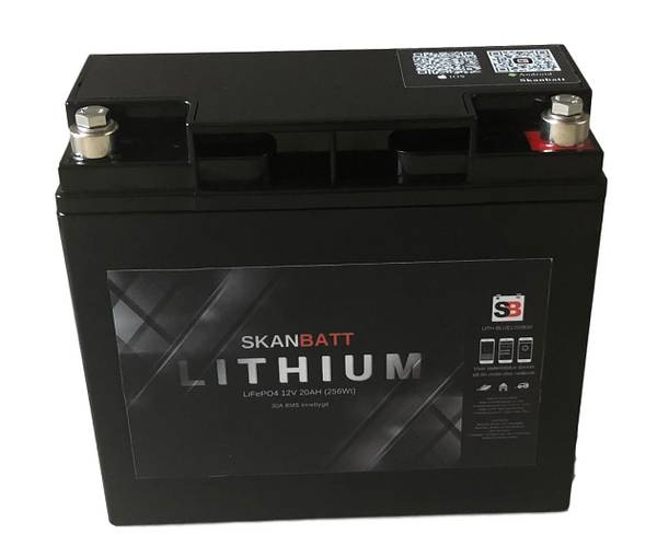 Bilde av SKANBATT Bluetooth Lithium Batteri 12V 20AH 30A BMS
