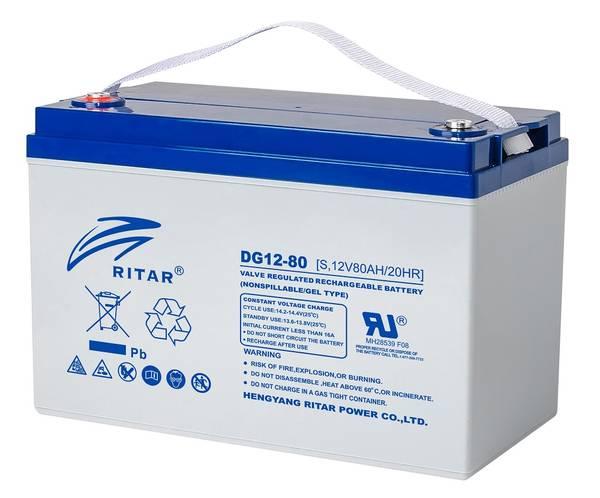 Bilde av RITAR GEL Deep Cycle Batteri 12V 80AH (259x169x210mm) +venstre