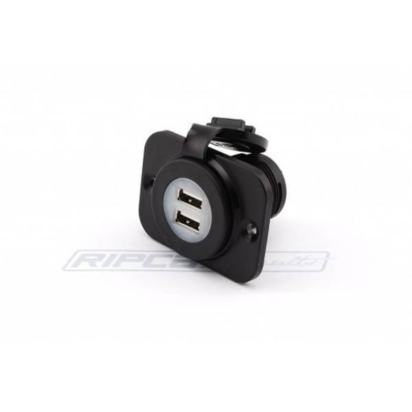 Bilde av USB Kontakt - Dobbel - For innfelling - m/deksel