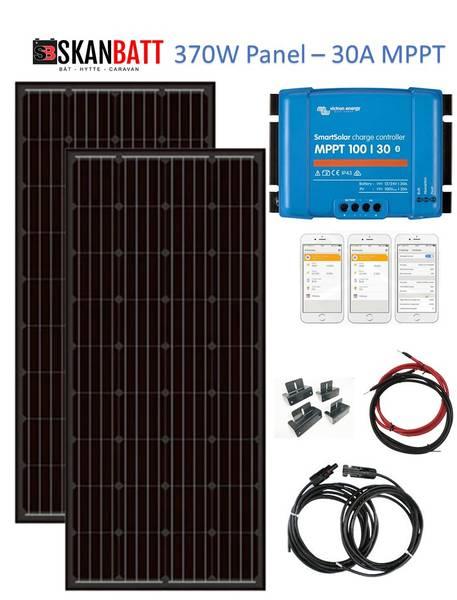 Bilde av SKANBATT Solcellepakke HYTTE - Medium - 12/24V - 370W