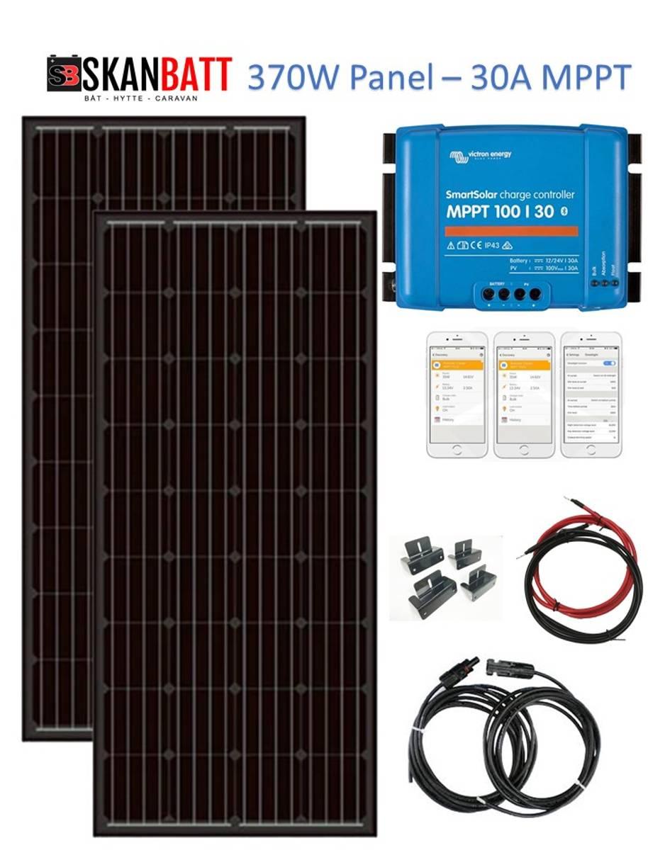 SKANBATT Solcellepakke HYTTE - Medium - 12/24V - 370W