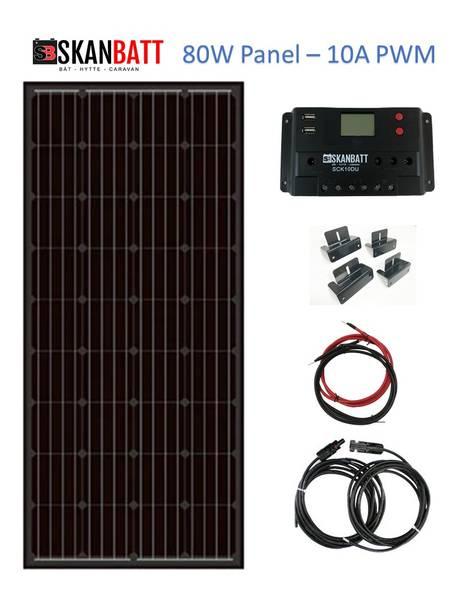 Bilde av SKANBATT Solcellepakke HYTTE - Mini - 12V - 80W
