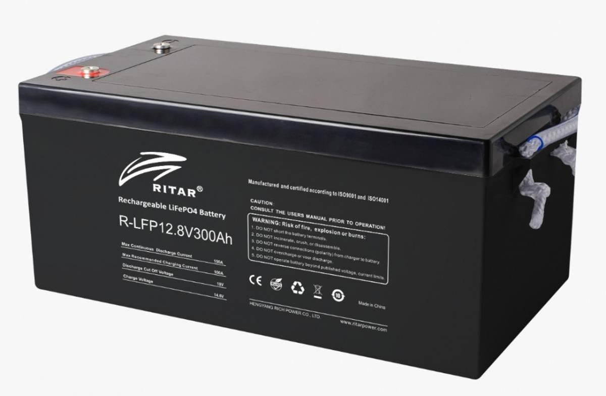 RITAR Lithium Batteri 12V 300Ah (LiFePO4) BMS 200A