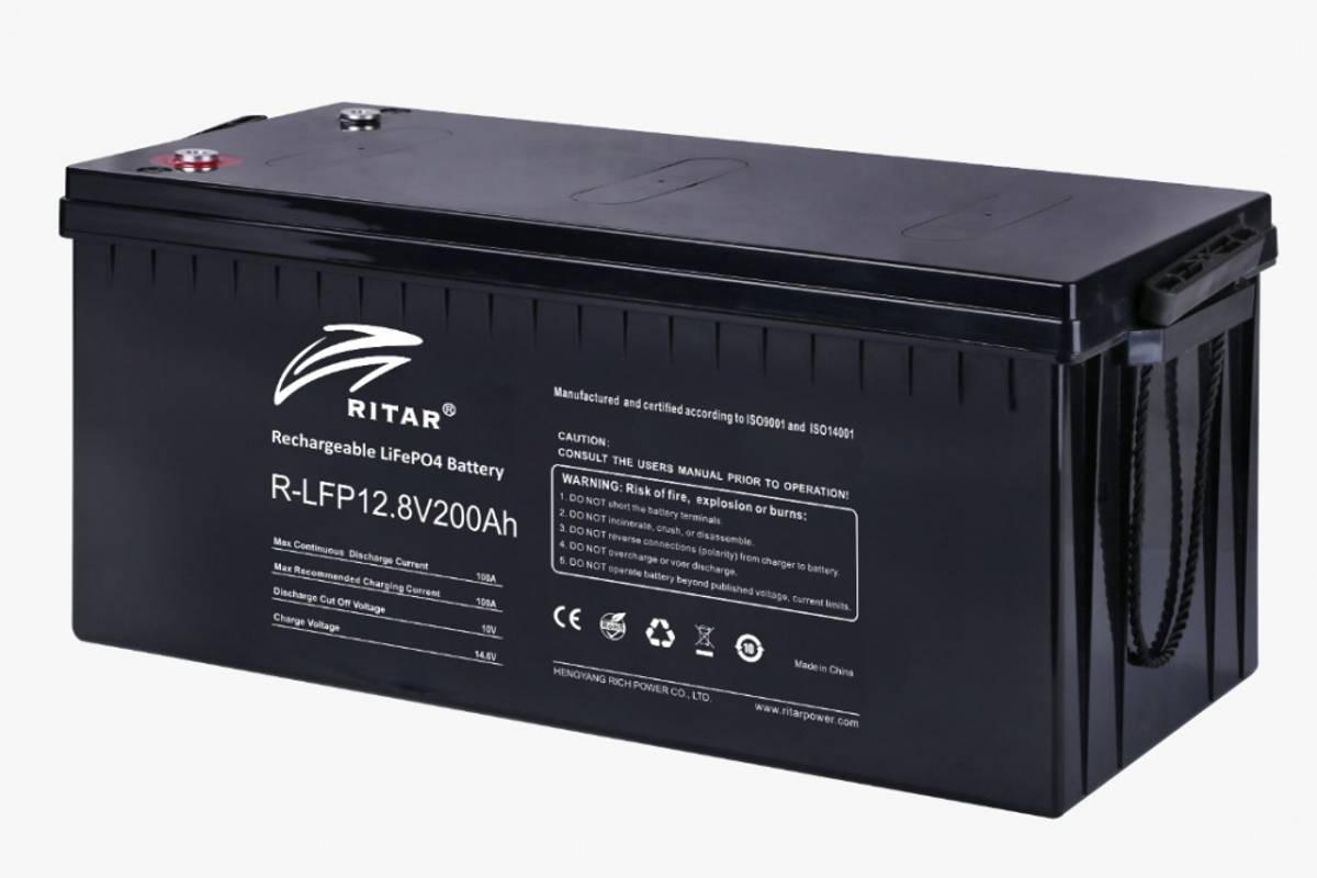 RITAR Lithium Batteri 12V 200Ah (LiFePO4) BMS 100A