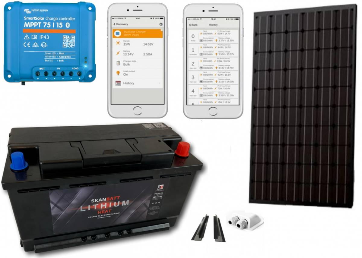 Fricampingpakke sommer 185w solcelle og Lithium 98Ah Bluetooth