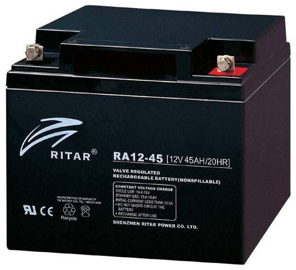 Bilde av RITAR AGM Deep Cycle Batteri 12V 45AH (197x165x169mm) +høyre