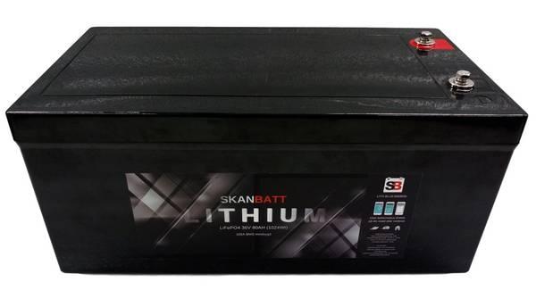 Bilde av SKANBATT Bluetooth Lithium Batteri 36V 80AH 50A BMS LITH-BLUE368