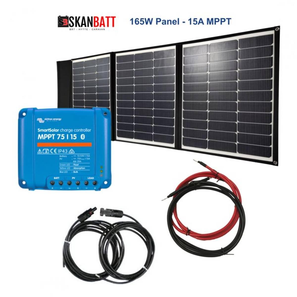 BÅT - Solcellepakke - 165W Sammenleggbart - Victron MPPT 15A