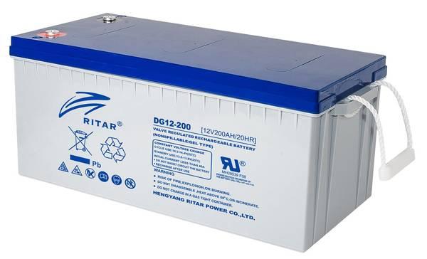 Bilde av RITAR GEL Deep Cycle Batteri 12V 200AH (522x240x223mm) +høyre