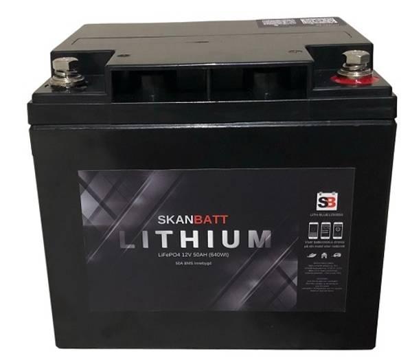 Bilde av SKANBATT Bluetooth Lithium Batteri 12V 50AH 50A BMS