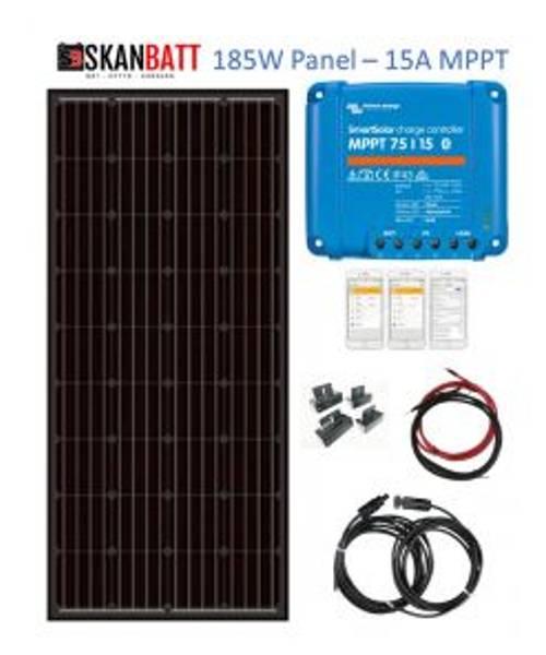 Bilde av SKANBATT Solcellepakke HYTTE - Liten - 12V - 185W