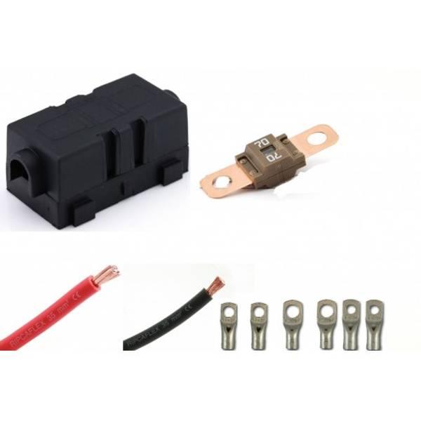 Bilde av 230V ladekabelpakke 60A 1,7m 2x16mm2 70A sikring m. holder 1 pr.