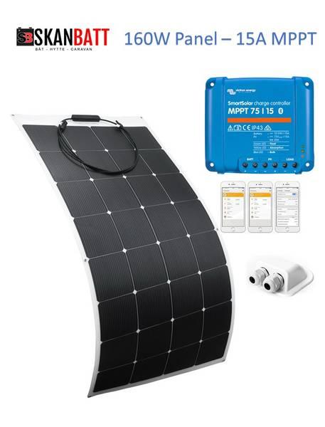 Bilde av SKANBATT Solcellepakke Bobil 160W - Flexi - VICTRON MPPT 15A