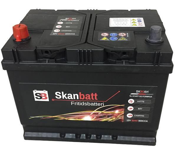 Bilde av SKANBATT Fritidsbatteri 12V 80AH 600CCA (256x174x205/225mm) +ven