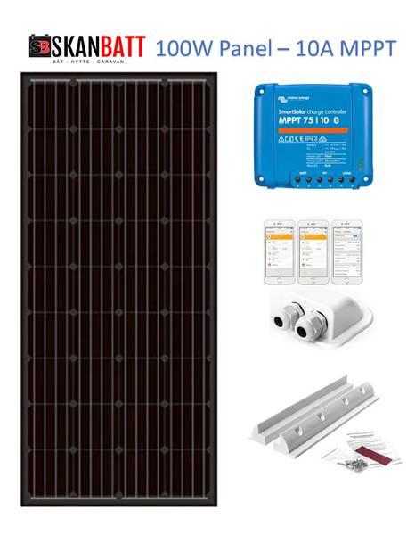 Bilde av SKANBATT Solcellepakke Bobil 100W - SLIM - VICTRON MPPT 10A