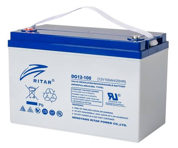Bilde av RITAR GEL Deep Cycle Batteri 12V 100AH (328x169x222mm) +venstre