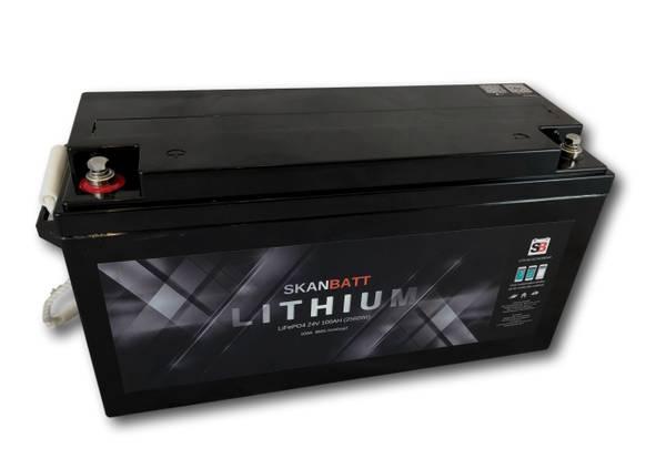 Bilde av SKANBATT Bluetooth Lithium Batteri 24V 100AH 100A BMS