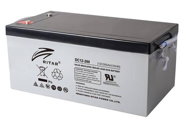 Bilde av RITAR AGM Deep Cycle Batteri 12V 260AH (520x268x220mm) +høyre 36