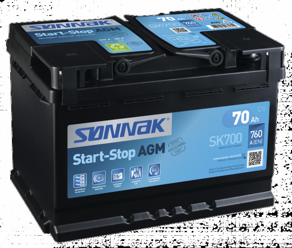 SK700 Sønnak AGM start-stop bilbatteri