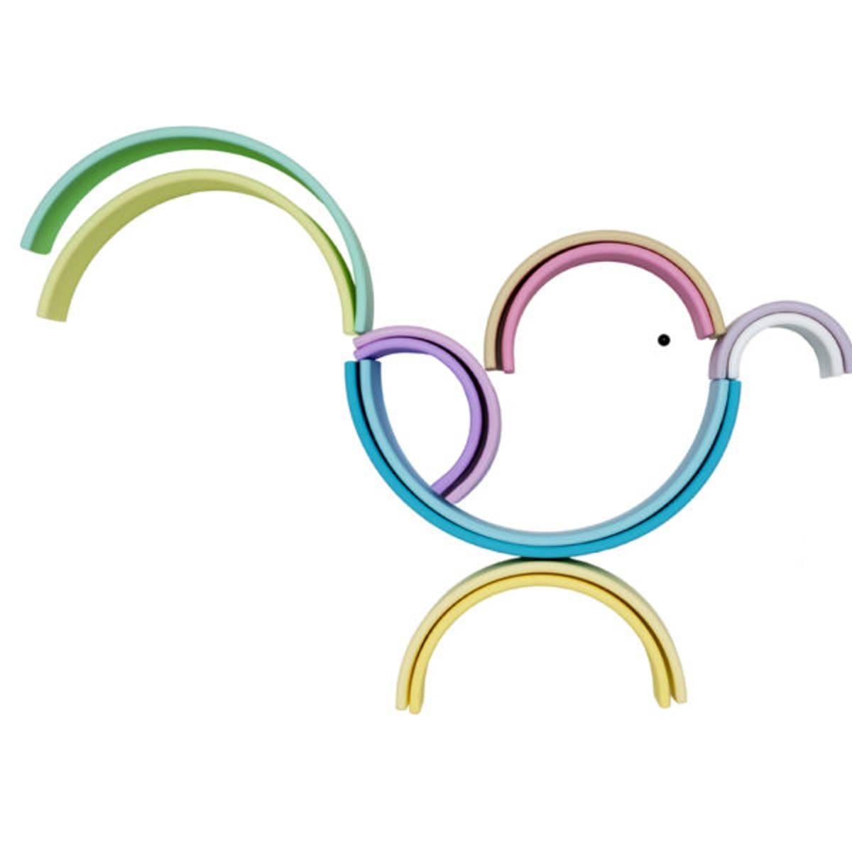 Stor regnbue, Pastell - leker i silikon / Dëna Toys